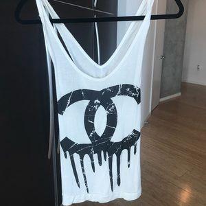 Chanel drip logo cross back tank